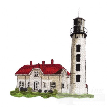 White Lighthouse with House