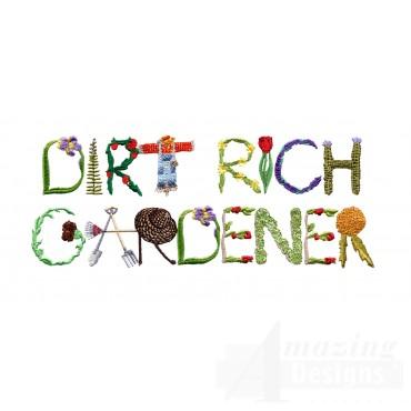 Dirt Rich Gardener Embroidery Design