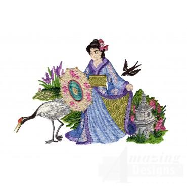 Swngg103 A Geishas Garden Embroidery Design