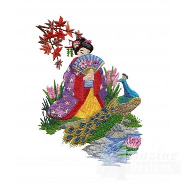 Swngg108 A Geishas Garden Embroidery Design