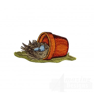 Nest In Flower Pot Embroidery Design