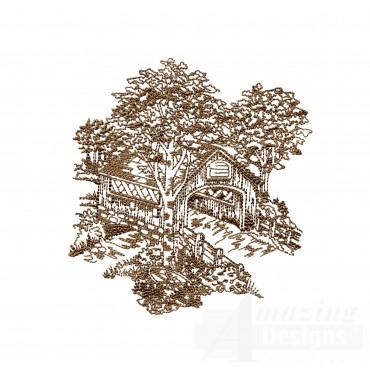 Covered Bridge Swnscb118 Embroidery Design