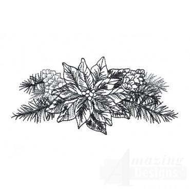 Poinsettia Vignette Embroidery Design