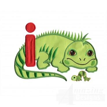 Applique I Iguana And Inchworm Embroidery Design
