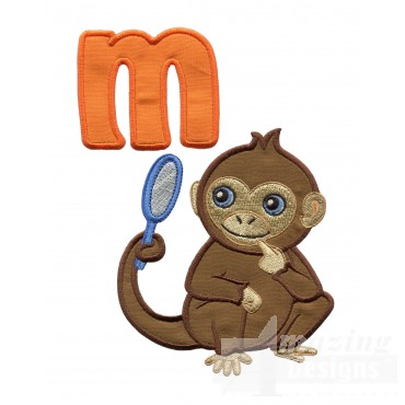 Applique M Monkey With Mirror Embroidery Design