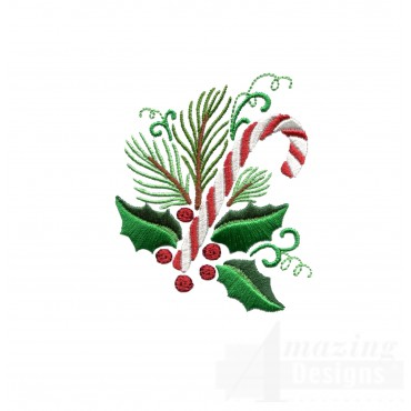 Holly And Candy Cane Embroidery Design