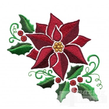 Holly And Poinsettia Embroidery Design
