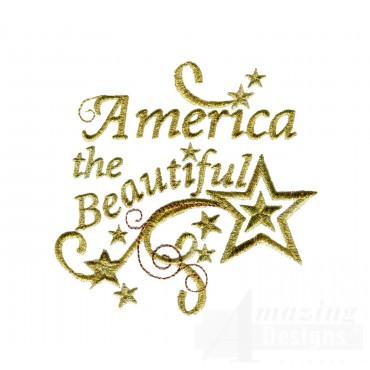 America The Beautiful Metallic Embroidery Design
