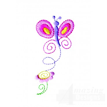 Butterfly And Flower Embroidery Design