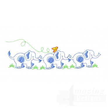Line Of Elephants Embroidery Design