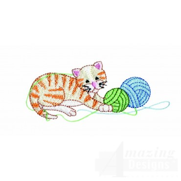 Kitty And Yarn Embroidery Design