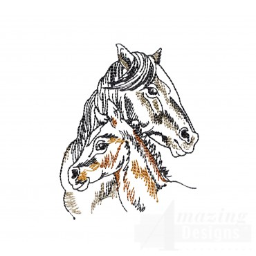 Mama And Colt Prairie Horses Embroidery Design