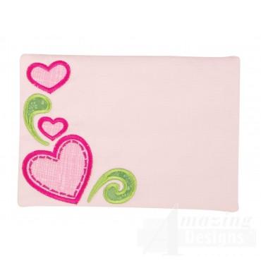 Hearts Applique Mug Rug Embroidery Design