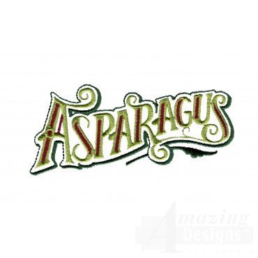 Asparagus Lettering Embroidery Design