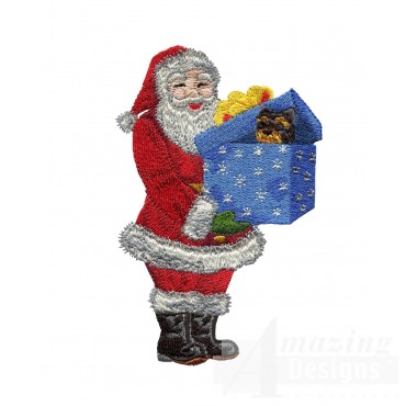 Santa With Present Embroidery Design