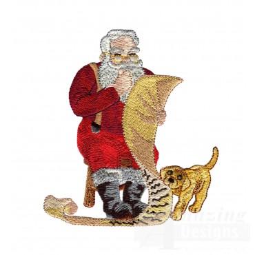 Santa Checking List Embroidery Design