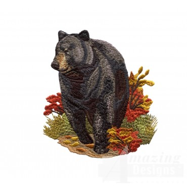 Black Bear North Woods Autumn Embroidery Design