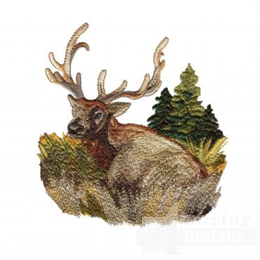 Lounging Buck North Woods Autumn Embroidery Design