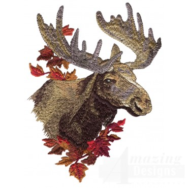 Scenic Moose North Woods Autumn Embroidery Design
