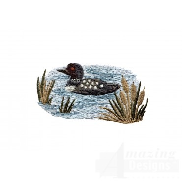 Floating Loon North Woods Autumn Embroidery Design
