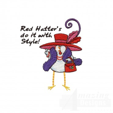 Chks114 Red Hat Chick Embroidery Design