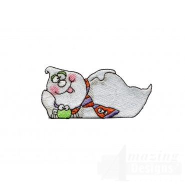 Lounging Ghost Halloween Embroidery Design