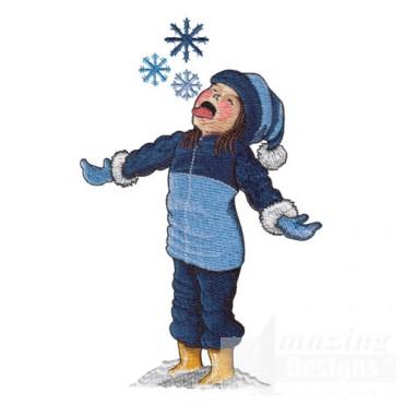 Girl Catching Snowflake