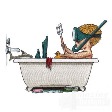 Boy Playing in Bath Tub