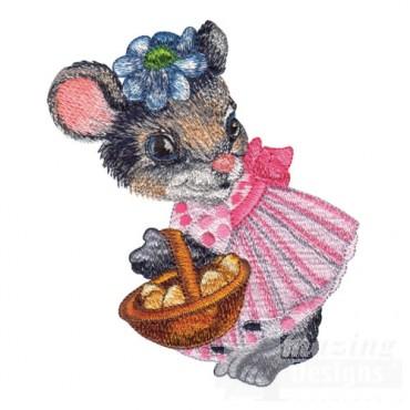 Girl Mouse Holding Basket