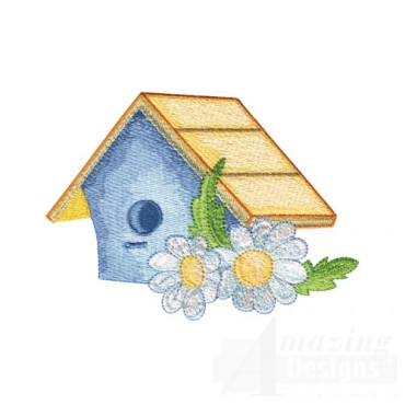 Birdhouse and Daisies