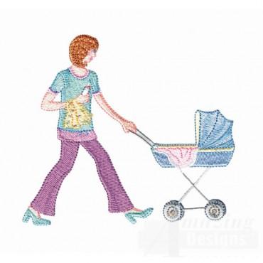 Woman Walking Baby Carriage