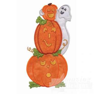 Pumpkins And Ghost Applique