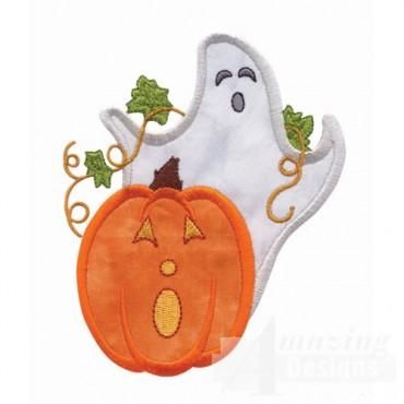 Ghost And Pumpkin Applique 2