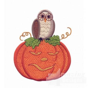 Pumpkin And Owl Applique