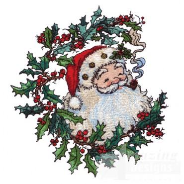 Santa And Wreath
