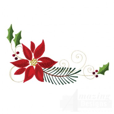 Poinsettia, Pine Bough, And Swirls