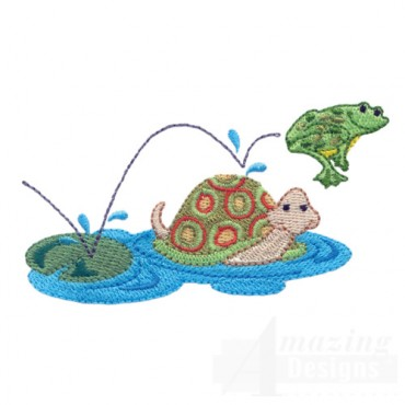 Jumping Frog With Turtle