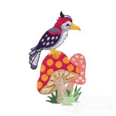 Woodpecker On Mushrooms