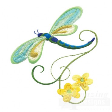Dragonfly With Flowers 1