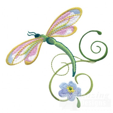 Dragonfly With Flowers 4