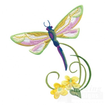 Dragonfly With Flowers 5