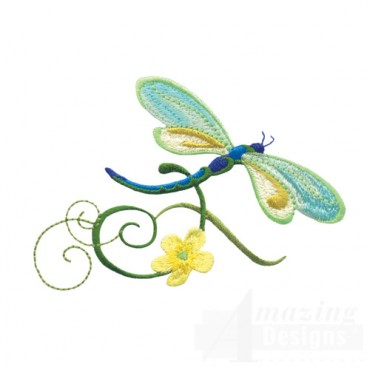 Dragonfly With Flowers 6