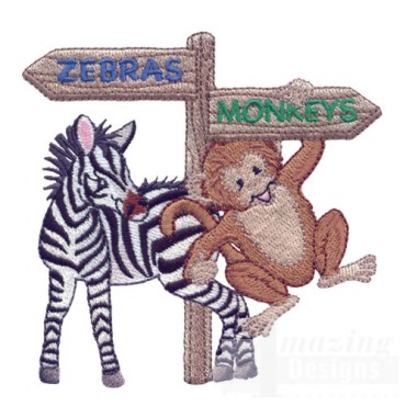 Zebra And Monkey With Sign
