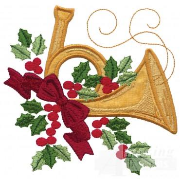 Horn Applique Embroidery Design