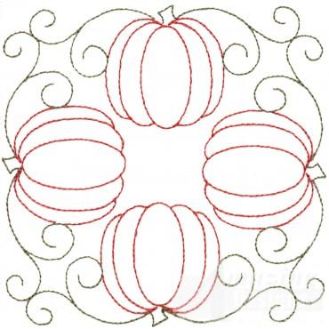 Four Pumpkins Embroidery Design