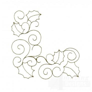 Leaf And Vine Corner Embroidery Design