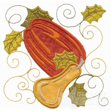 Pumpkin And Squash Applique Embroidery Design