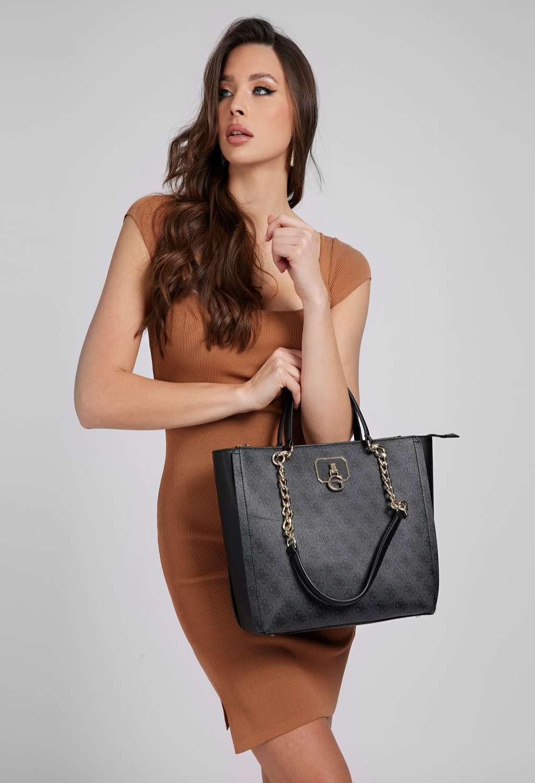 Shopper logata nera e grigia GUESS borse   Borse   SG8123230COAL