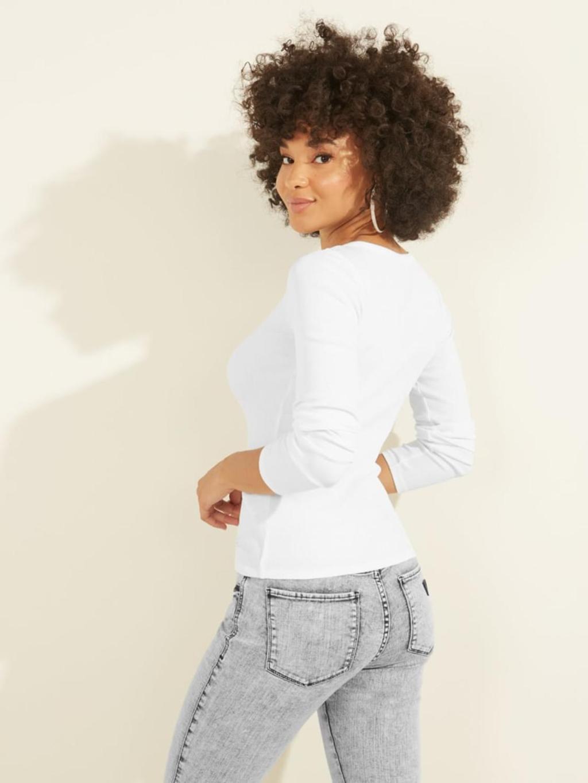 T-shirt bianca a manica lunga GUESS   T-shirt   W0BP1SR9I51BIANCO