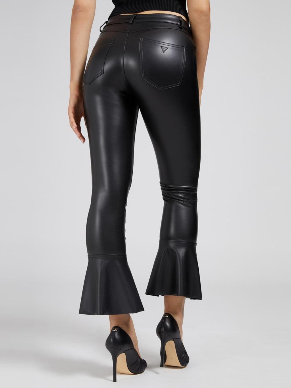 Pantalone a zampa in ecopellle GUESS | Pantaloni | W1YB02WBG60NERO